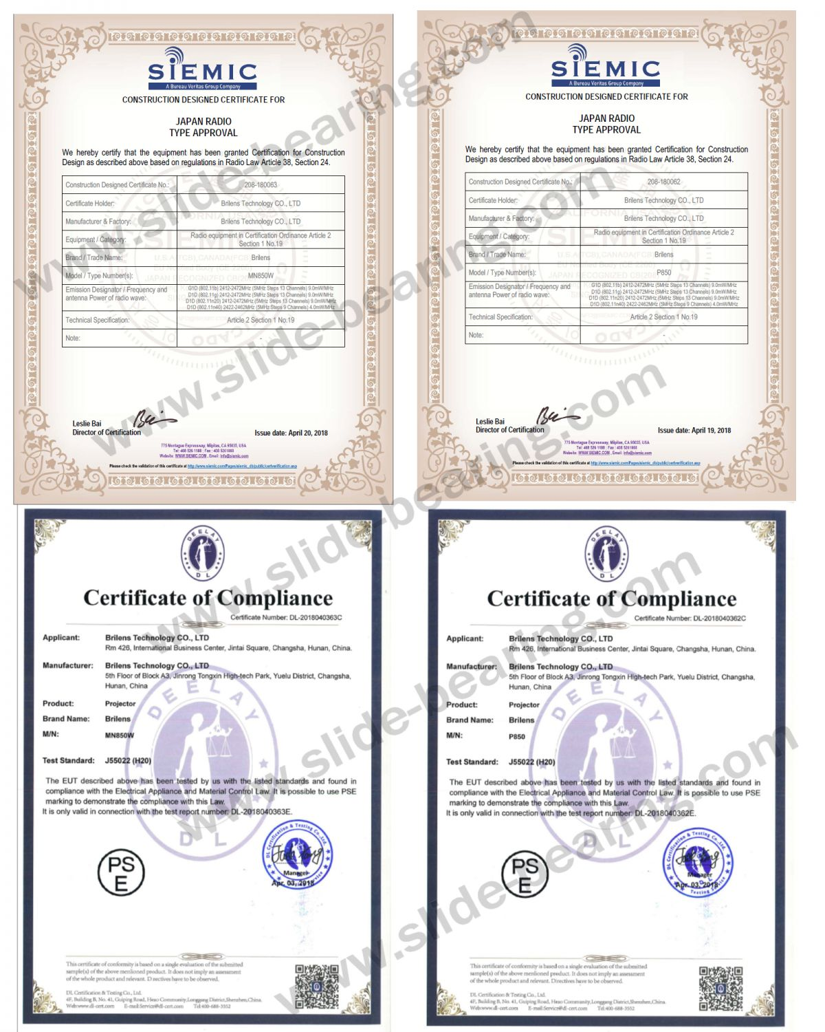 Japan PSE and TELEC Certificates